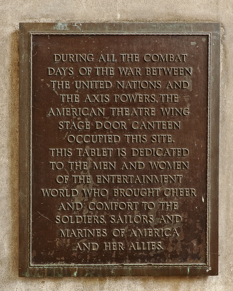Stage Door Canteen Plaque, Times Square, New York